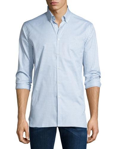 Matlock Gingham Long-Sleeve Sport Shirt, Light Gray Melange