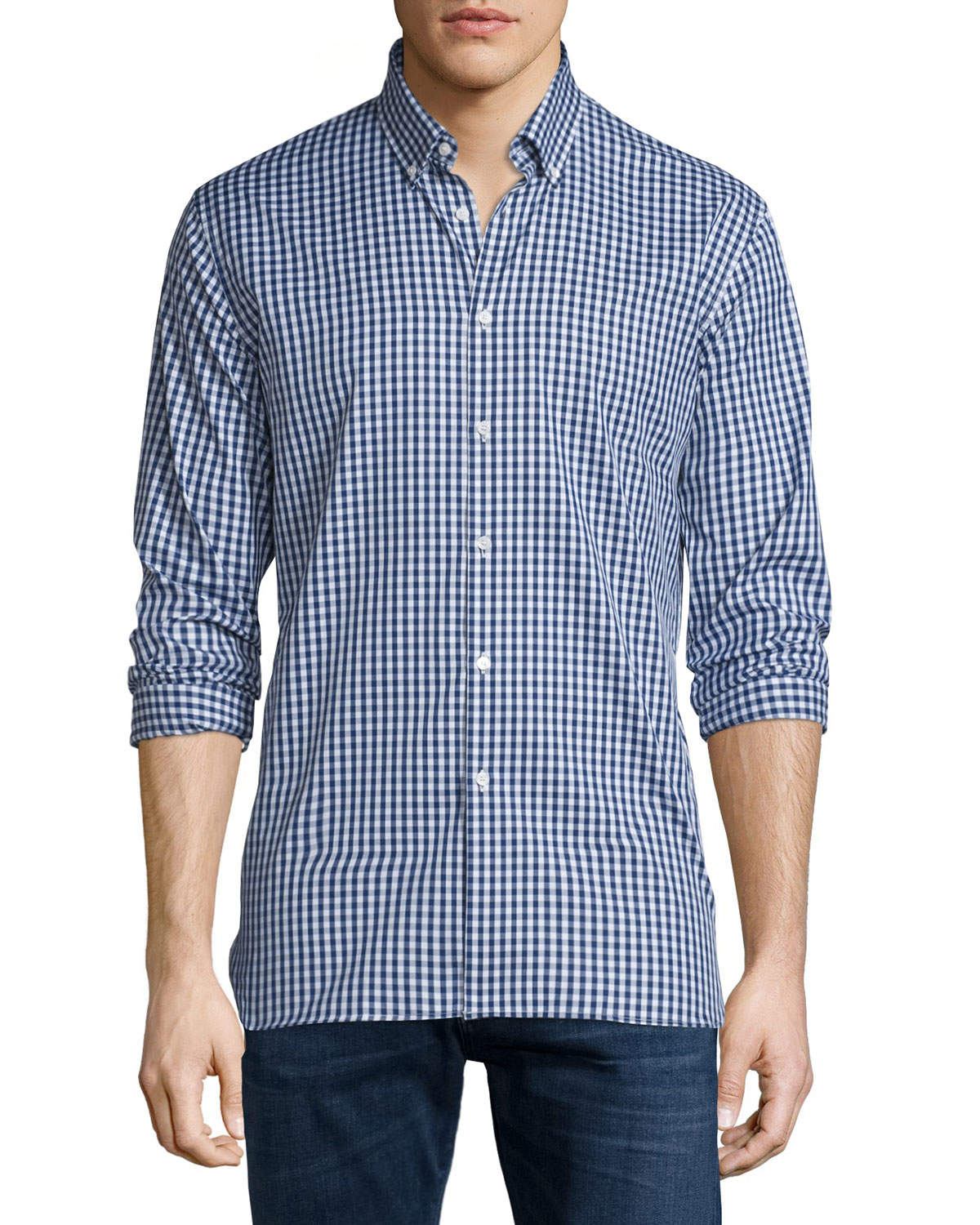 Matlock Gingham Long-Sleeve Sport Shirt, Bright Navy