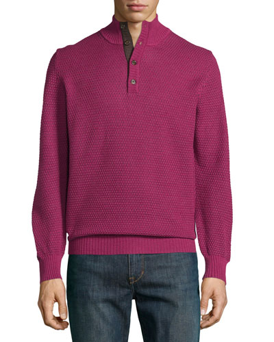 Mock-Collar Textured Sweater, Mulberry