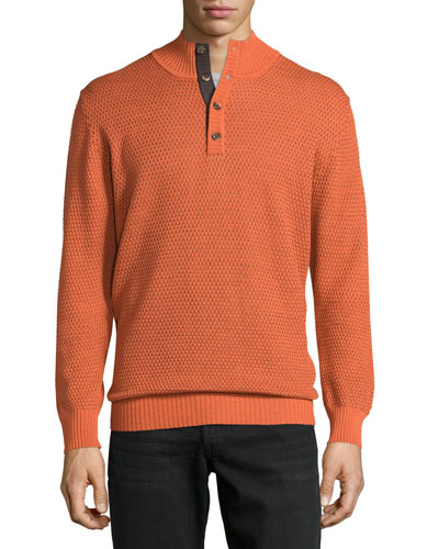 Mock-Collar Textured Sweater, Burnt Orange