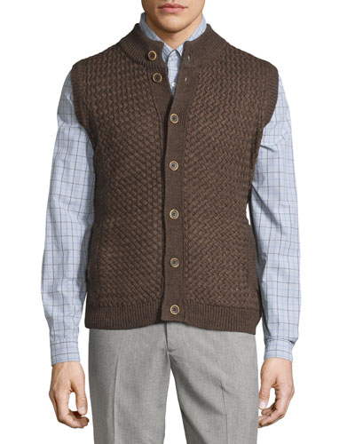 Button-Front Mock-Neck Vest, Espresso