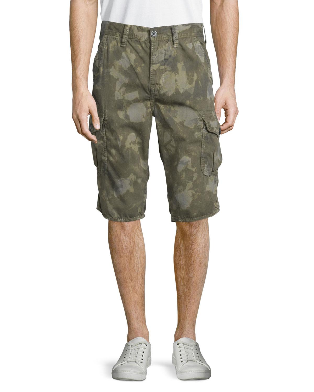 Trooper Camo-Print Cargo Shorts, Camo Wash