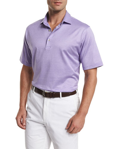 Von Jacquard-Stripe Short-Sleeve Polo Shirt, Purple