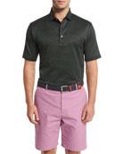 Hoy Pindot Short-Sleeve Polo Shirt, Black