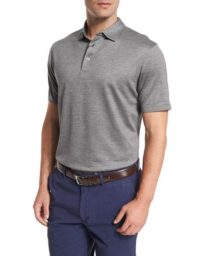 Concord Silk-Blend Short-Sleeve Polo Shirt, Gray