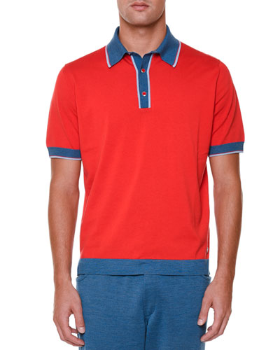Short-Sleeve Polo Shirt with Contrast Trim, Red
