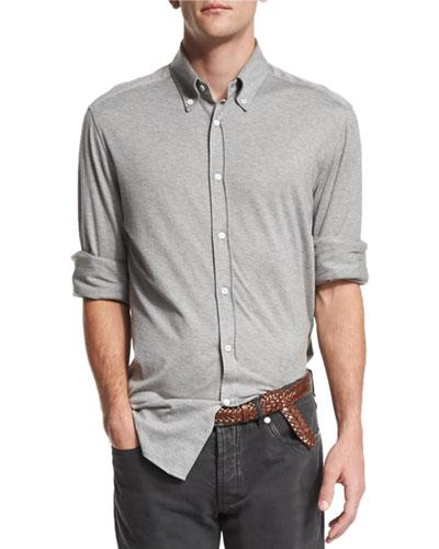 Long-Sleeve Stretch-Knit Shirt, Gray