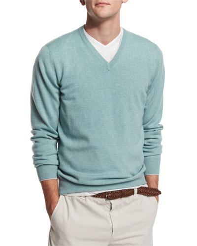 Cashmere V-Neck Sweater, Mint