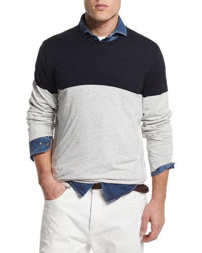 Colorblock Crewneck Sweater, Fog/Navy
