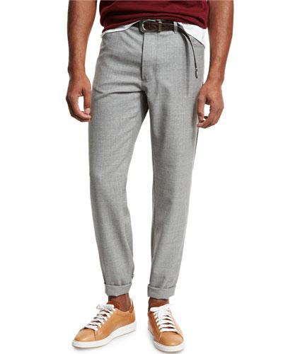 Rustic Five-Pocket Wool Pants, Light Gray