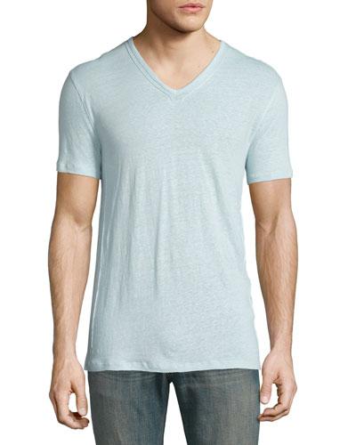 Pintuck-Seam V-Neck Short-Sleeve T-Shirt, Beach Glass