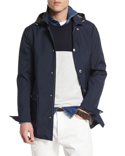 Double-Face Hooded Parka, Cobalt