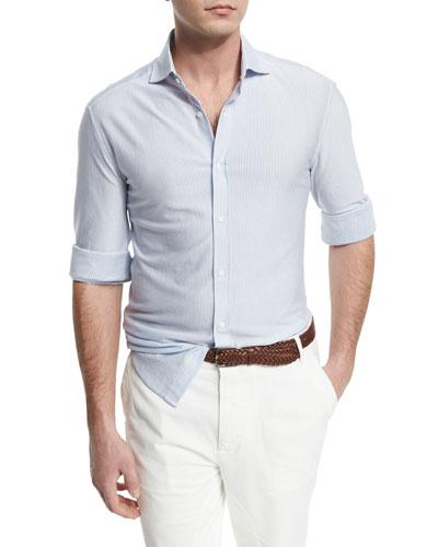Mini-Striped Long-Sleeve Sport Shirt, White