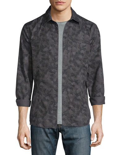 Camo-Print Button-Down Shirt Jacket, Coal