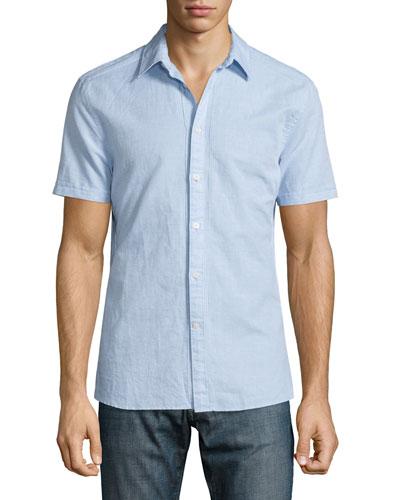 Pintuck Short-Sleeve Button-Down Shirt, Sky