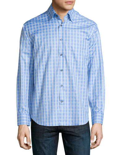 Grid-Print Woven Dress Shirt, Sky