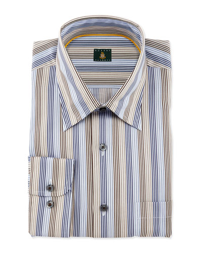 Skinny-Striped Woven Dress Shirt, Teal