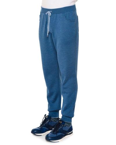 Drawstring Knit Sweatpants, Blue