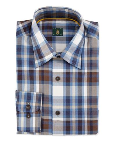 Check Woven Dress Shirt, Navy