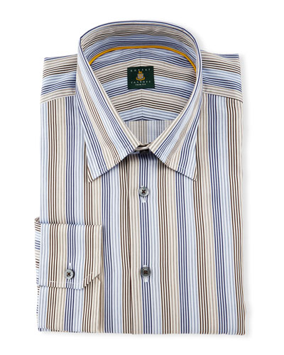 Skinny-Striped Woven Dress Shirt, Sky