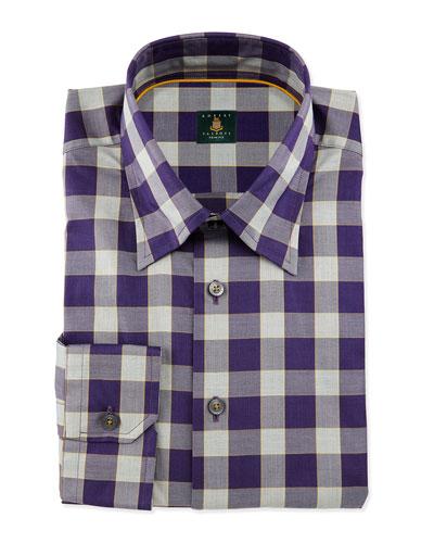 Plaid Woven Dress Shirt, Grape