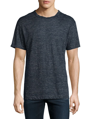 Striped Short-Sleeve Linen Tee, Petrol