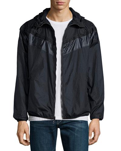 Nylon Hooded Wind-Resistant Jacket, Navy