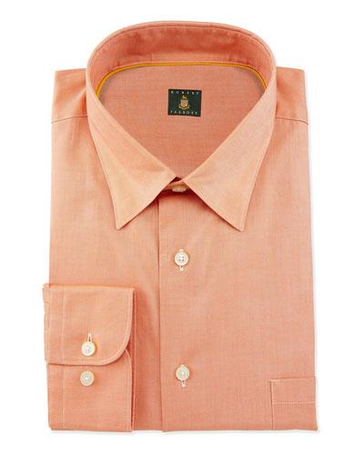 Solid Woven Dress Shirt, Tangerine
