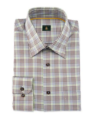 Plaid Woven Dress Shirt, Brown