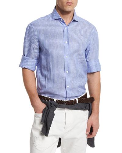 Striped Linen Sport Shirt, Navy