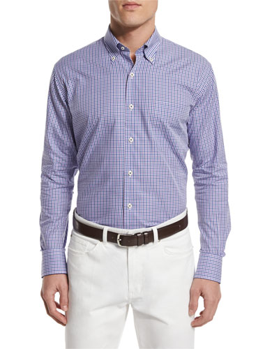 Check Long-Sleeve Sport Shirt, Mirage