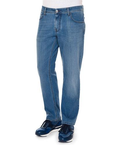 Five-Pocket Straight-Leg Denim Jeans, Blue