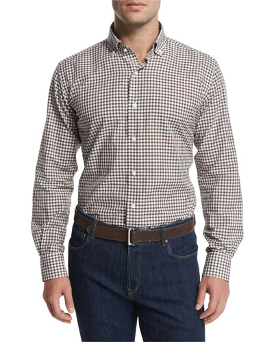Italian Gingham Long-Sleeve Sport Shirt, Truffle