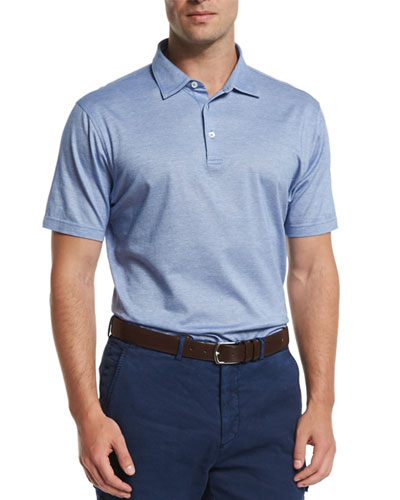 Take Five Short-Sleeve Pique Polo Shirt, Blue