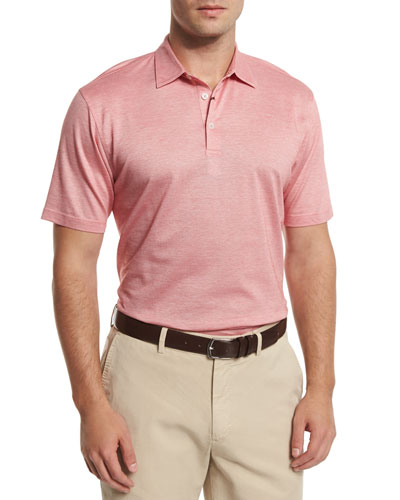Take Five Short-Sleeve Pique Polo Shirt, Summer Coral