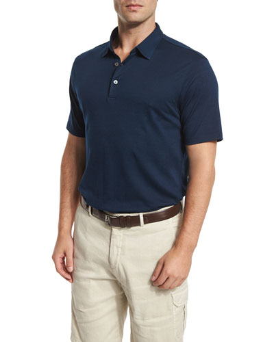 Perfect Short-Sleeve Pique Polo Shirt, Barche