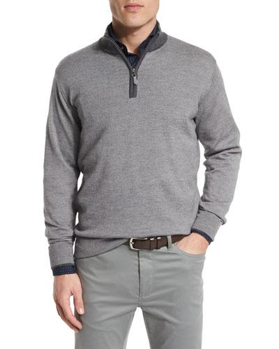 Cashmere-Blend Quarter-Zip Pullover Sweater, Nickel