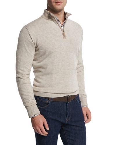 Cashmere-Blend Quarter-Zip Pullover Sweater, Sand
