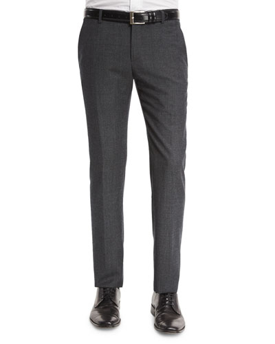 Mini-Dot Flat-Front Wool Trousers, Medium Gray