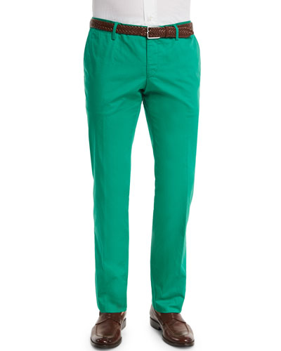Stanino Slim-Fit Cotton Trousers, Green