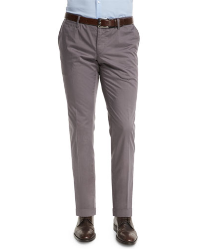 Stanino Slim-Fit Cotton Trousers, Gray