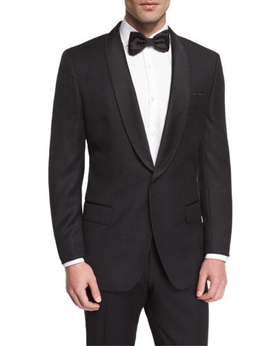 Satin Shawl Collar Textured Slim Tuxedo Jacket, Black