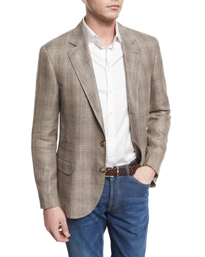 Plaid Linen-Blend Sport Coat, Oyster