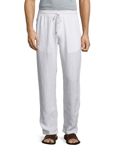 Drawstring Linen Pants, White