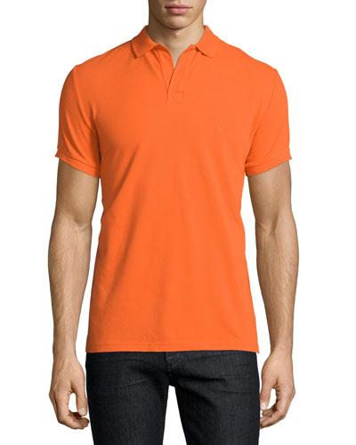 Johnny-Collar Pique Polo Shirt, Orange