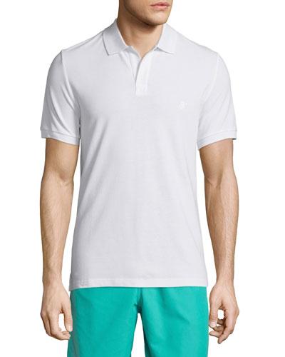 Johnny-Collar Pique Polo Shirt, White