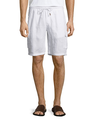 Baie Solid Linen Cargo Shorts, White