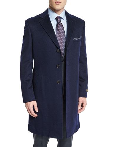 Cashmere Long Car Coat, Navy
