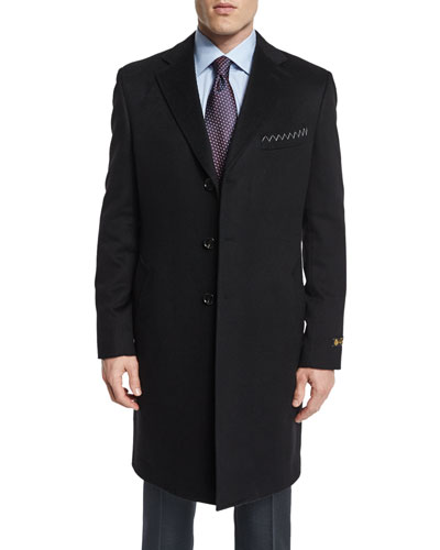 Cashmere Long Car Coat, Black
