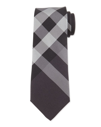 Beat-Check Silk Tie, Charcoal